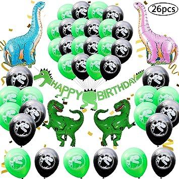 BESTZY 26 Piezas Decoración de Fiesta de Dinosaurio,Dinosaurio Cumpleaños Set de decoración Fiesta para niños,Globos de Colores para Niños Chicas ...