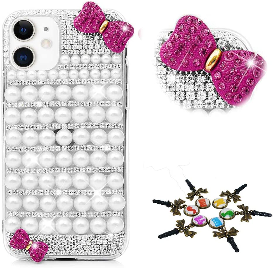STENES Sparkle Phone Case Compatible with Samsung Galaxy A01 - Stylish - 3D Handmade Bling Pearl Bowknot Rhinestone Crystal Diamond Design Cover Case - White