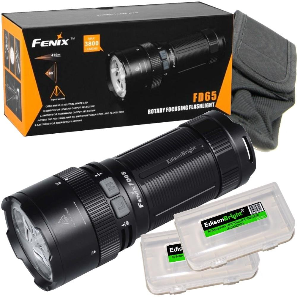 FENIX FD65 adjustable focus 3800 Lumen CREE LED military/ search rescue Flashlight with 2 X EdisonBright BBX3 battery carry cases bundle