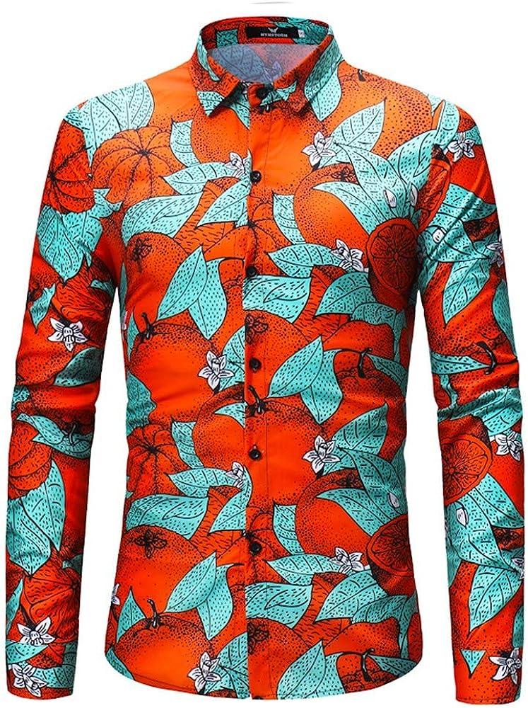 Camisas para Camisa De Manga Larga Verde Hoja Naranja Estampado Digital Hombre.: Amazon.es: Ropa y accesorios