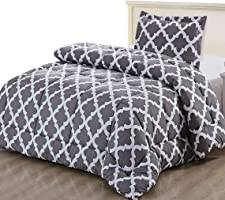 Printed Comforter Set with 2 Pillow Shams - Luxurious Soft Brushed Microfiber - Goose Down Alternative Comforter by...