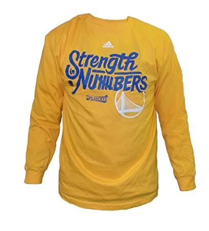 adidas Golden State Warriors Men s Gold Strength in Numbers Long Sleeve T- Shirt Small c1009c6a2
