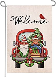 ANOVO Welcome Christmas Red Truck Gnome Snowman Double Sided Burlap Garden Flags, Seasonal Holiday Winter Porch Patio Farmhouse Yard Outdoor Decorative 12 x 18 Inch