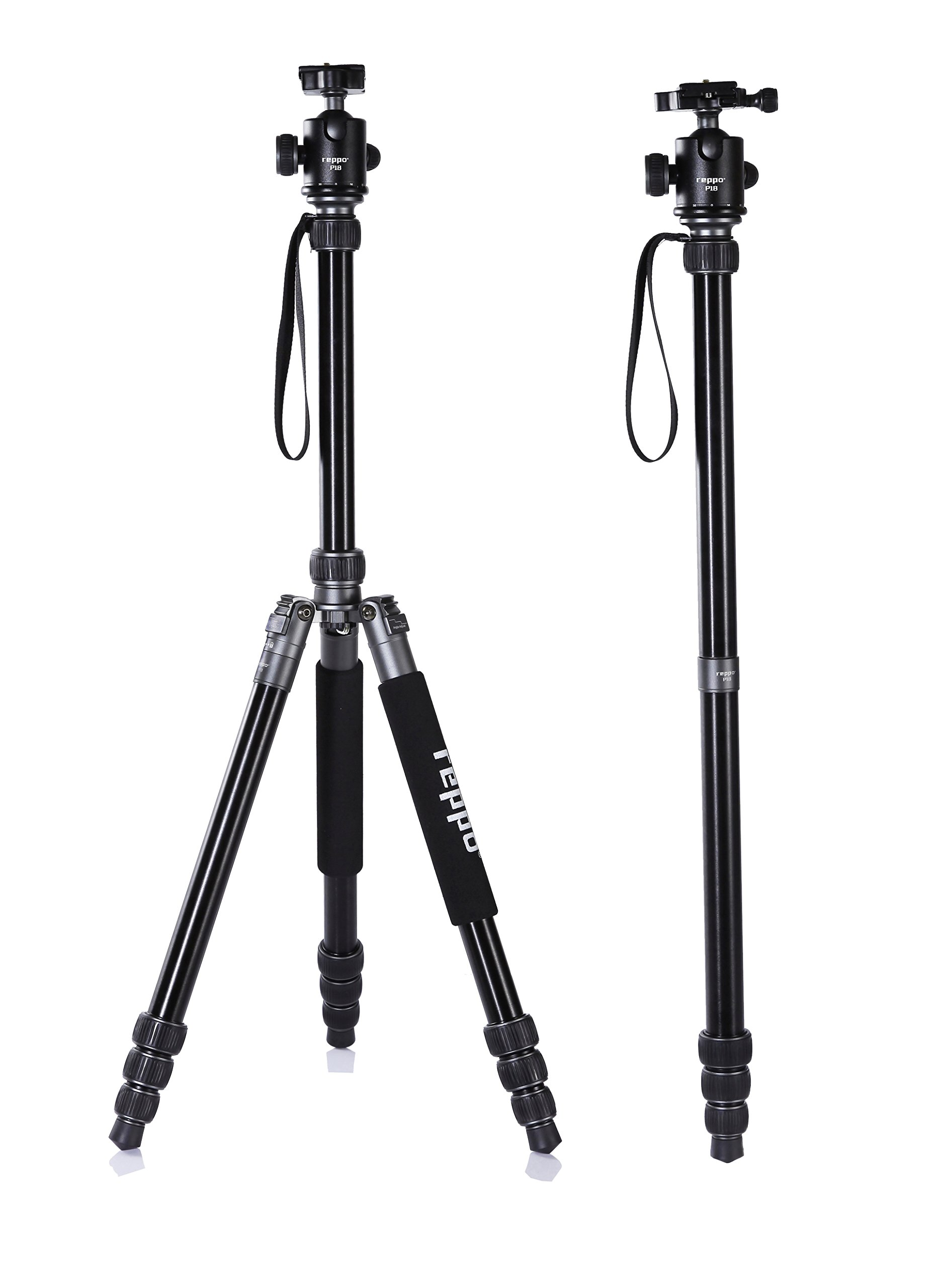 70 Inch travel camera tripod,REPPO P18 telescope Foldable camera tripods With Ball Head Quick Release Plate and Carry Case For Digital/Video/DSLR Cameras-Matte SILVER by riepor