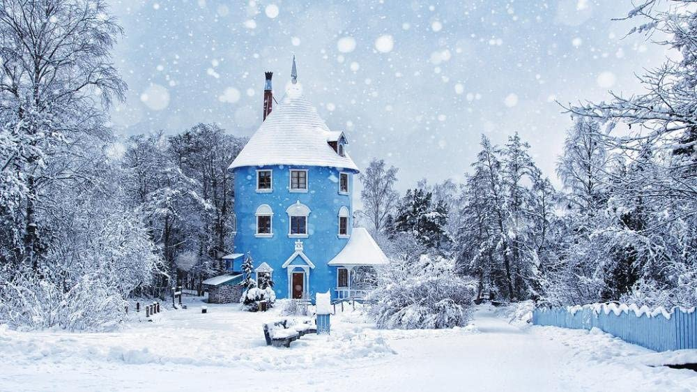 LAMINATED 42x24 Poster: Winter Snowing Moomin World Moomin Landscape Ice Cold Nature Frozen Forest Snow Naantali Valley Park Theme Finland Amusement Park Characters Child Fantasy