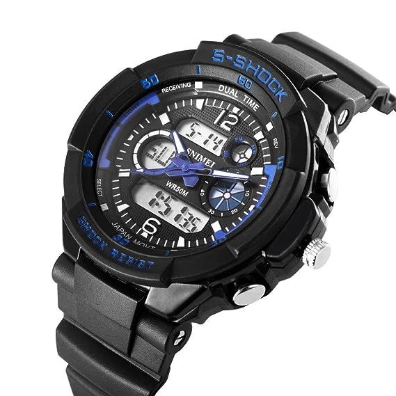 sinimei marca relojes deportivos Moda Casual Relojes Hombre S-shock cuarzo reloj de pulsera analógico Militar LED Digit reloj montre homme: Amazon.es: ...