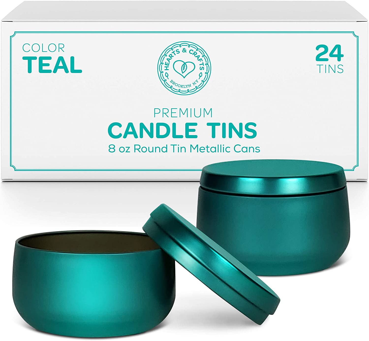 Hearts & Crafts Candle Tin Cans with Lids | 8-oz. Teal Tin Cans, 24-Pack | for Candles, Arts & Crafts, Storage, and More