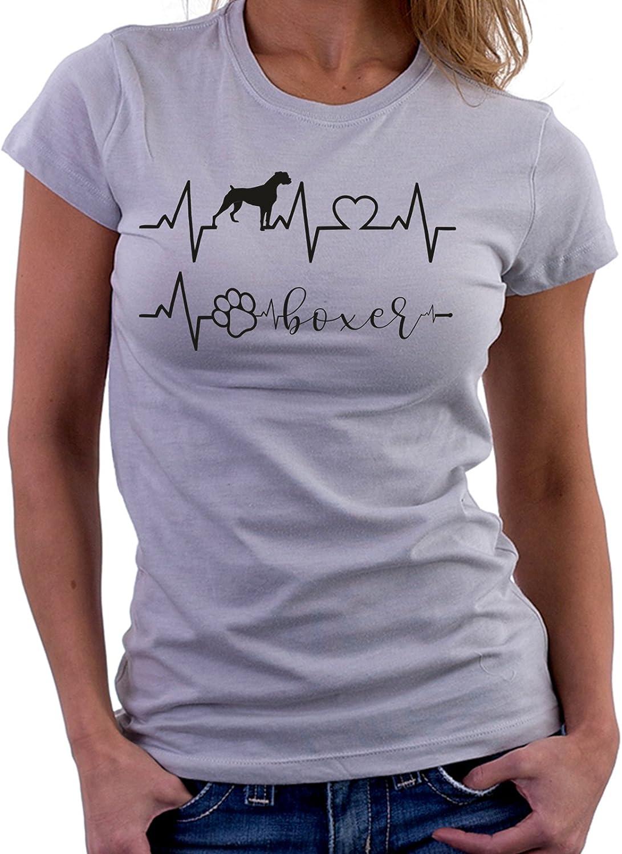 I Love Boxer Dog Tshirt Simpatiche e Divertenti Cani Humor Tshirt Elettrocardiogramma Boxer Love