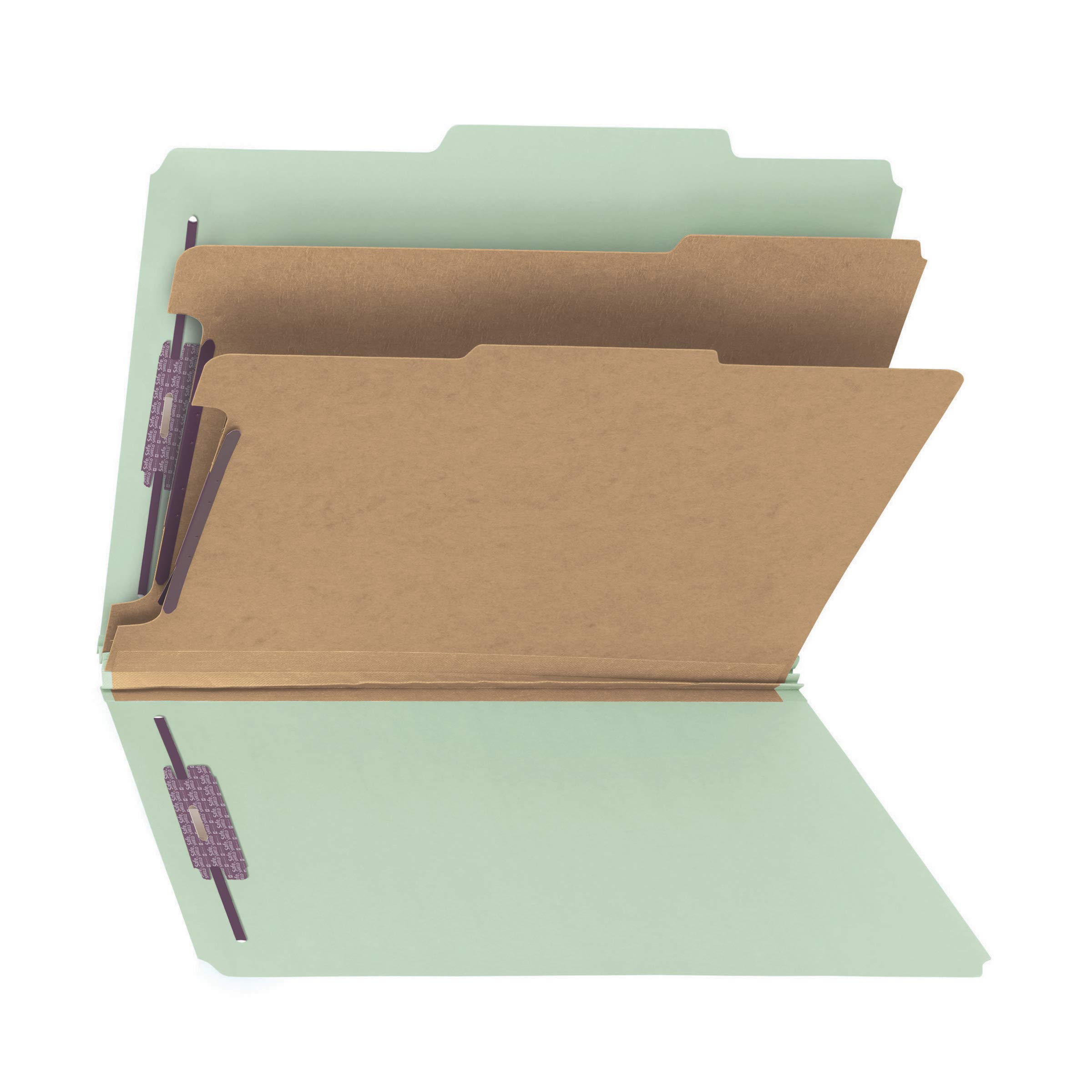Smead PressGuard Classification File Folder with SafeSHIELD Fasteners, 2 Dividers, 2'' Expansion, Letter Size, Gray/Green, 10 per Box (14206) by Smead