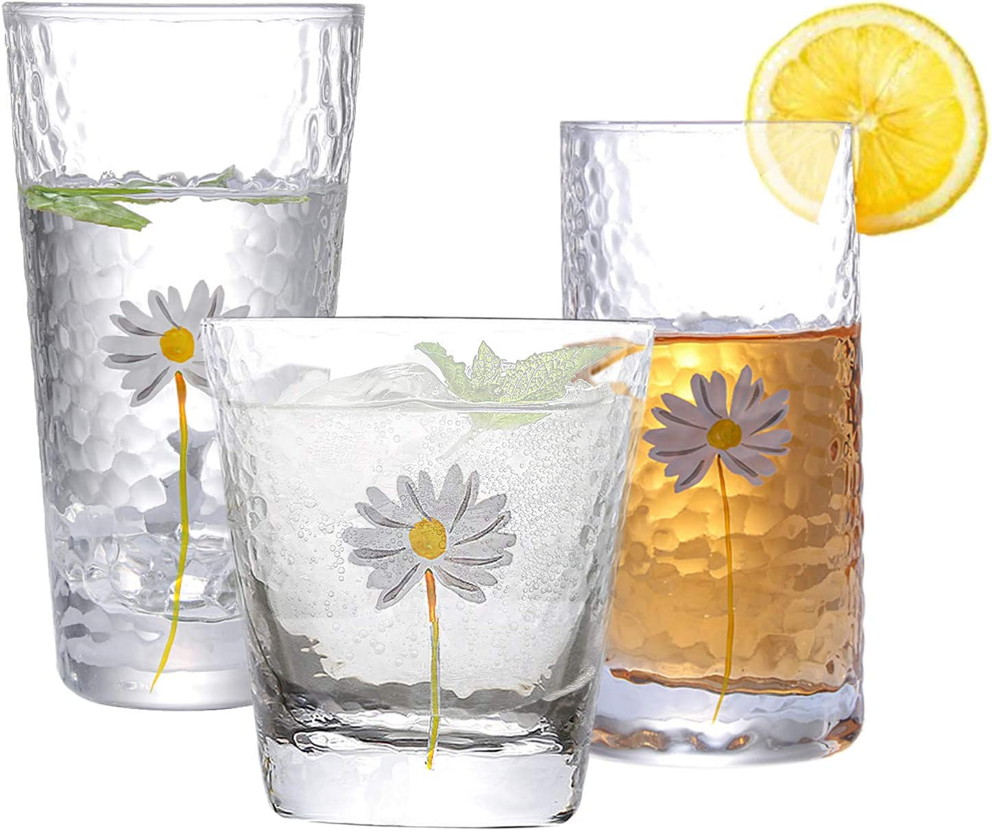 Highball Drinking Gasses,Tall Cocktail Glasses Kitchen Entertainment Ice Tea Beverage Cups Glassware for Water,Juice,Beer and Valentine's Day Gifts 10oz/12oz/14oz
