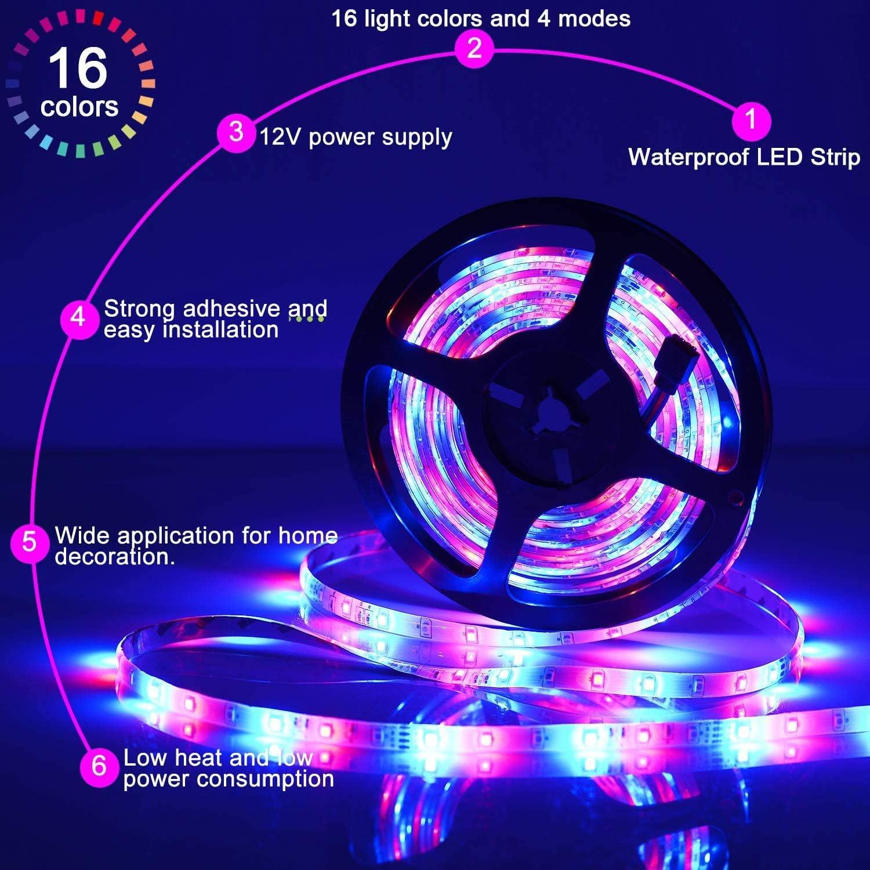 SUNNEST Ruban LED 5m 3528 RGB Etanche IP65 Multicolore 300 LED T/él/écommande Infrarouge 24 Touches etc F/ête Lumi/ère dAmbiance D/écoration pour Exterieur Chambre Adapteur//Alimentation 2A 12V