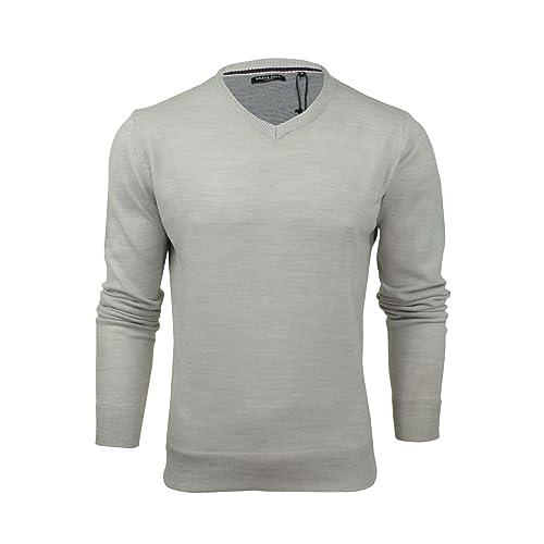 0f86444f4321 Mens Brave Soul Quazer Knitted Jumper V-Neck Long Sleeved Top Sweater