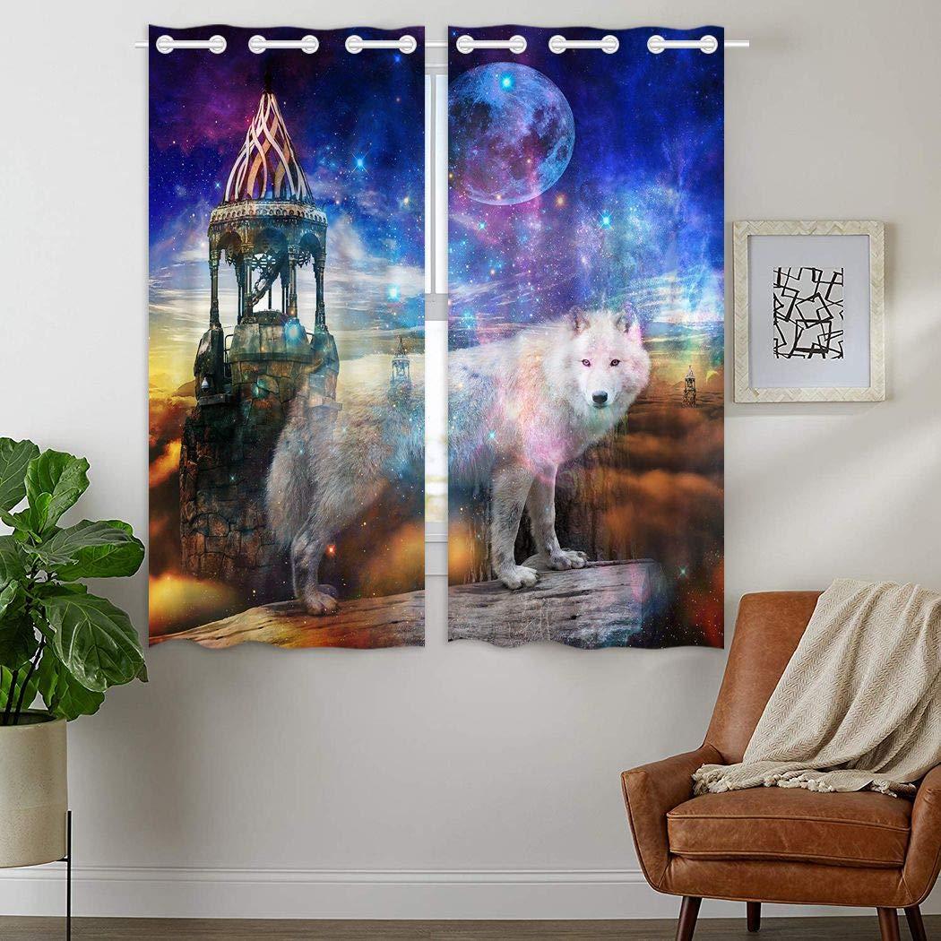 YISUMEI - Gardinen Blickdichter - Weißer Wolf Sternenhimmel,180 x 140 cm 2er Set Vorhang Verdunkelung mit Ösen für Schlafzimmer Wohnzimmer