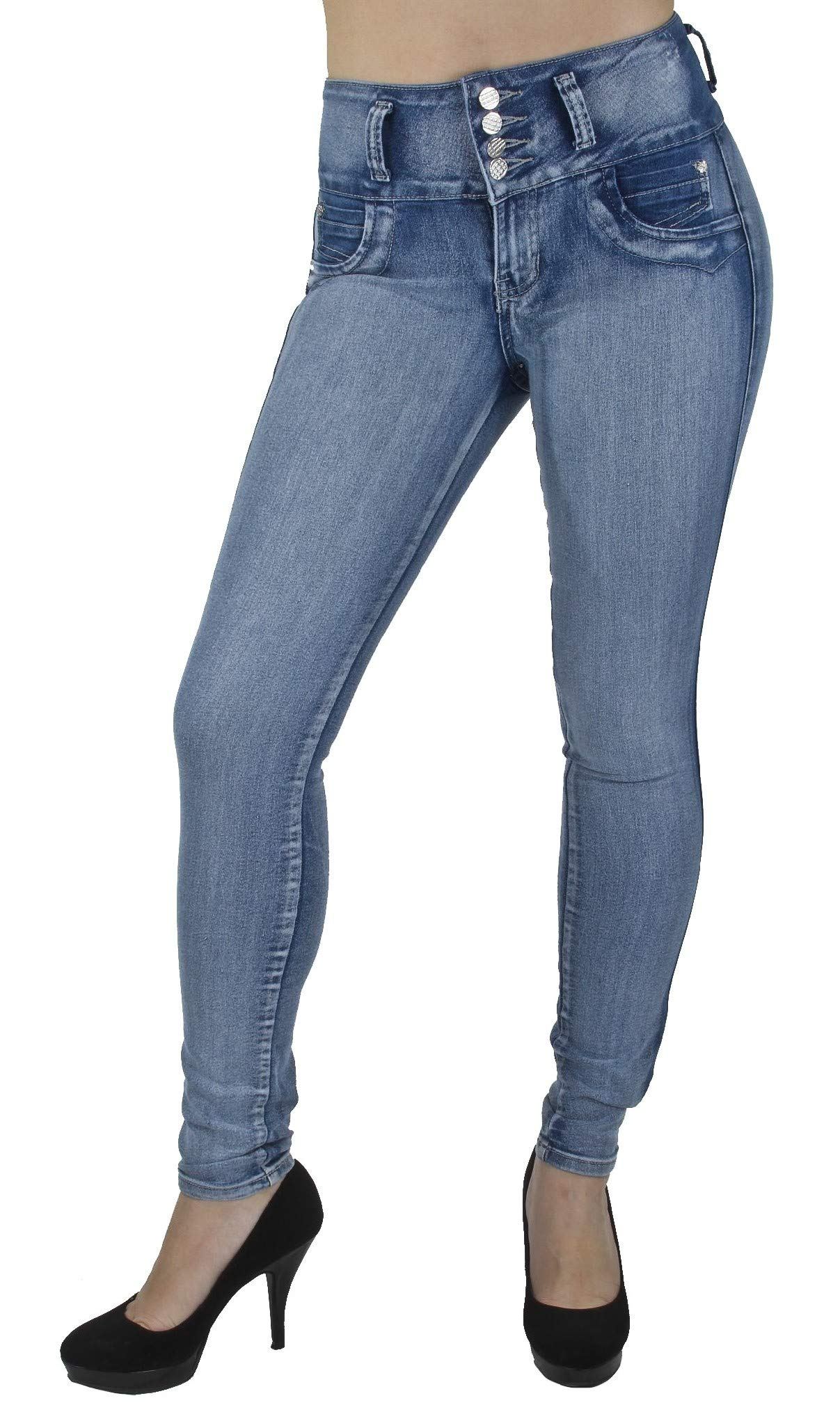 Style G208– Colombian Design, High Waist, Butt Lift, Levanta Cola, Skinny Jeans in M. Blue Size 7