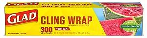 Glad ClingWrap Plastic Food Wrap - 300 Square Foot Roll, 12 Rolls/Case (00022)