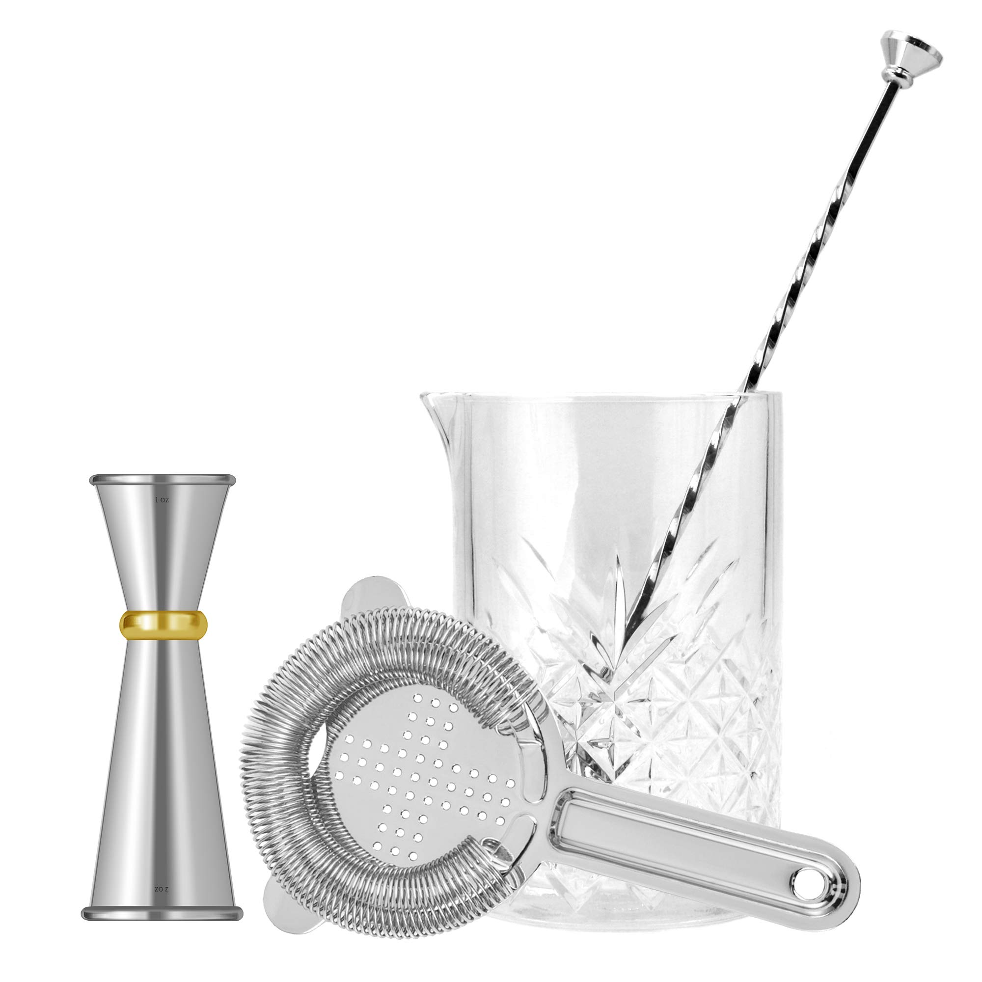 Cocktail Mixing Glass Bar Set By Homestia 4-Piece: 24.5oz Thick Mixing Glass, Hawthorne Cocktail Strainer, Double Jigger, Bar Spoon,Silver Bar Set Father's Day Gift Set
