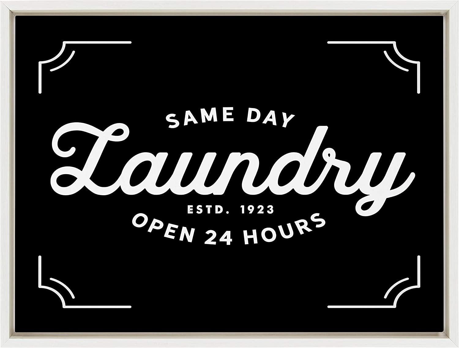 Kate and Laurel Sylvie Same Day Laundry Co Black Framed Canvas Wall Art by Maggie Price of Hunt and Gather Goods, 18x24 White, Vintage Art for Wall