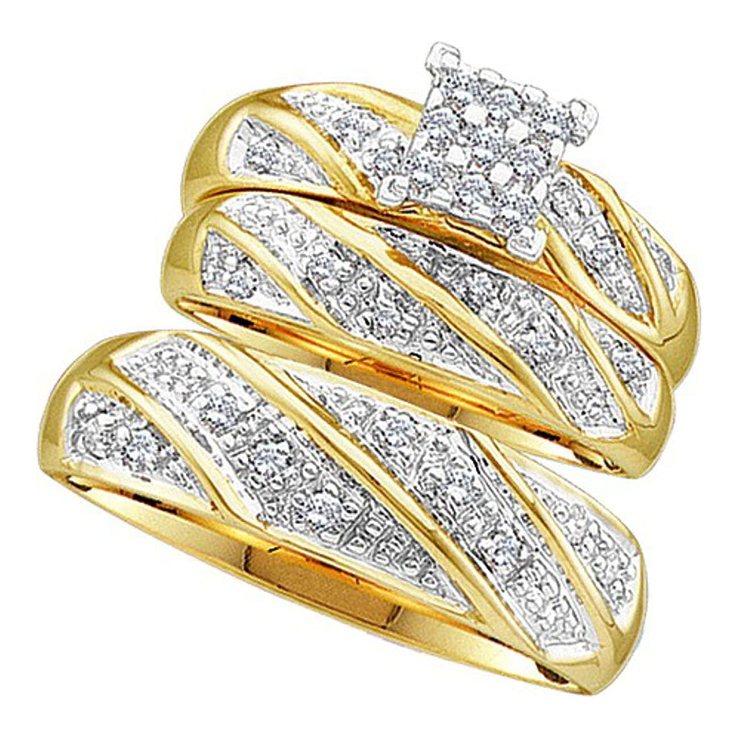 10k Yellow Gold Mens and Ladies His & Hers Trio 3 Three Ring Bridal Engagement Wedding Ring Band Set (1/3 cttw)