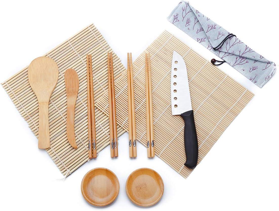 WeeDee Kit para Hacer Sushi de Bambú 12 Piezas - 2 x Esterillas, 1 x Paleta de Arroz, 1 x Esparcidor de Arroz, 4 Pares de Palillos , 1 x Sushi Cuchillo , 2 x Plato Pequeño