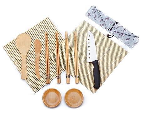 WeeDee Kit para Hacer Sushi de Bambú 12 Piezas - 2 x Esterillas, 1 x Paleta de Arroz, 1 x Esparcidor de Arroz, 4 Pares de Palillos , 1 x Sushi ...