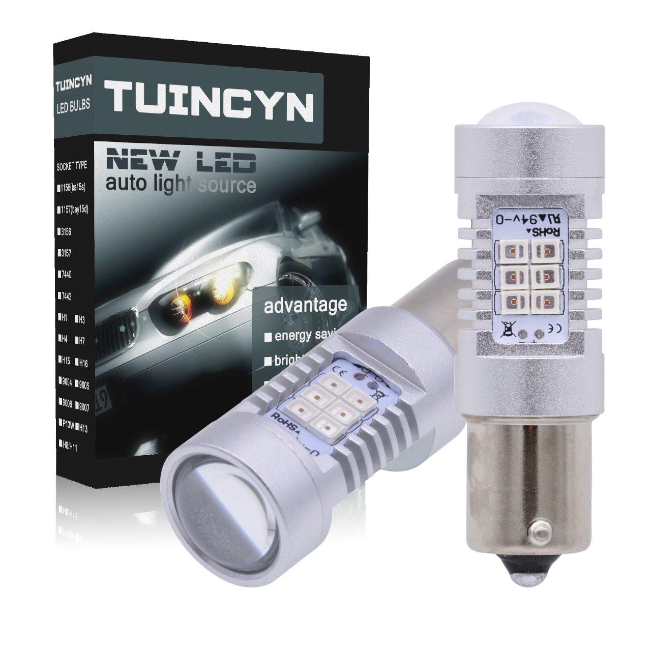 Pack of 2 TUINCYN BAU15S 1156 LED Light Bulbs White Turn Signals 7507 PY21W 12496 5009 7507AST 2835 21SMD Lens LED Backup Reverse Lights Tail Brake LED Lights Lamp 10.5W DC 12V