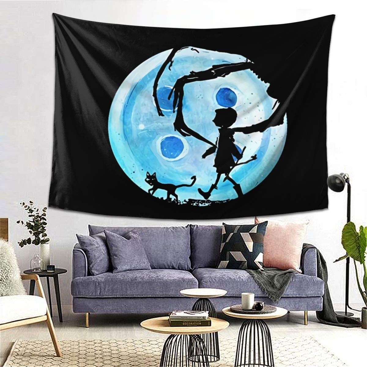 Amazon Com Winsle Modern Art Tapestry Coraline Blue Full Moon Nightmare Cat Home Decor Wall Hanging For Living Room Bedroom Dorm 60 X 51inch Home Kitchen