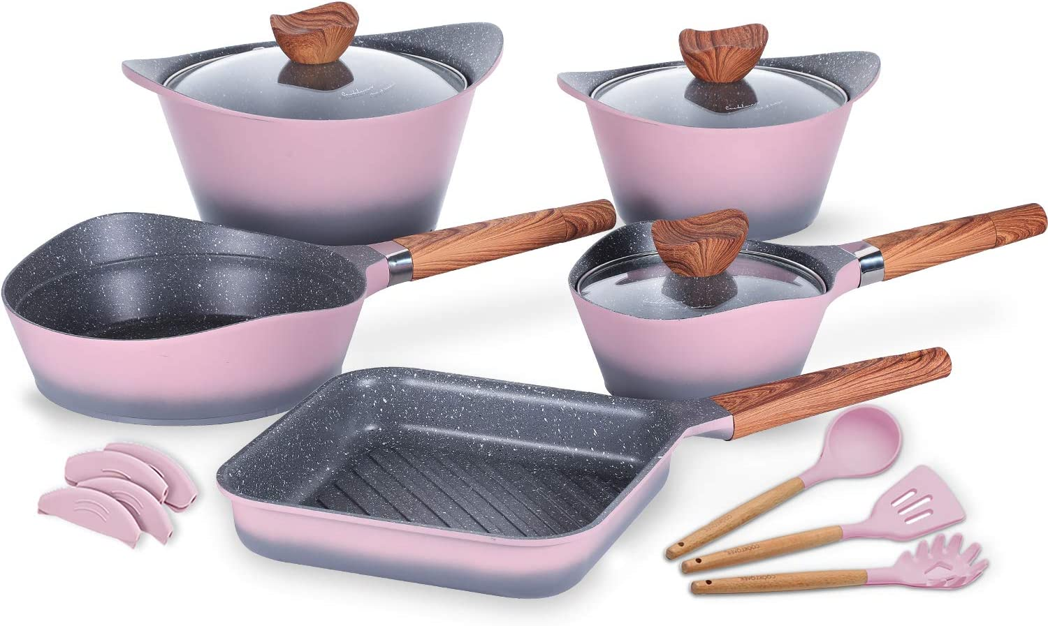 Nonstick Cookware Set Dishwasher Safe 100% PFOA Free Aluminum Induction Pots and Pans Set with Cooking Utensils- 15 - Piece - Pink