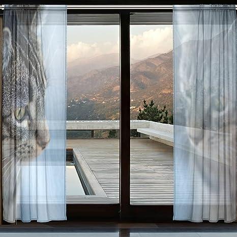 coosun gatos reflexión Sheer cortina paneles de tul poliéster gasa ventana Panel de tratamiento cortinas para