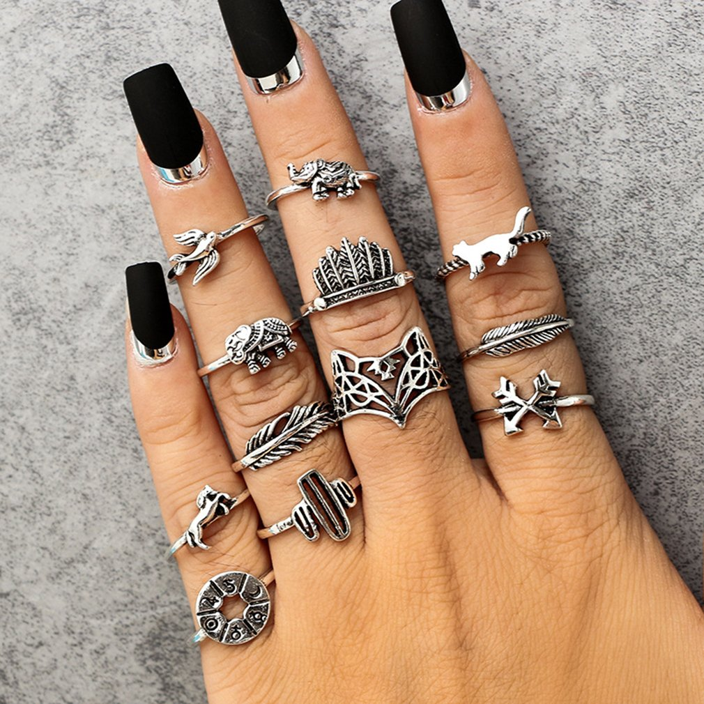 GUAngqi Vintage Carved Animal Crown Feather Finger Ring Set Hollow Fox 3D Elephant Knuckle Ring Sets Jewelry Gifts,Fox elephant(12Pcs/set by GUAngqi (Image #1)