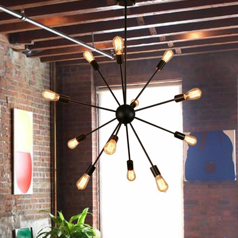Zhiyuan Lighting Sputnik Chandelier - 12 Lights Black Pendant Lighting, Vintage Ceiling Light Fixture for Kitchen Dining Room Living Room UL LISTED