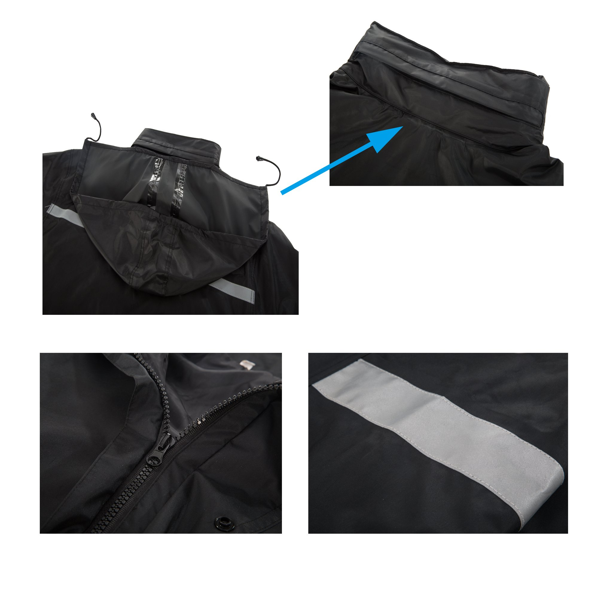 Maiyu Motorcycle Rain Suit Waterproof Rain Jacket and Pants Set 2 Piece Rain Gear For Adult by Maiyu (Image #6)