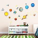 Decowall DW-1307 Pianeti nello Spazio Adesivi da Parete Decorazioni Parete Stickers Murali Soggiorno Asilo Nido Camera da Letto per Bambini