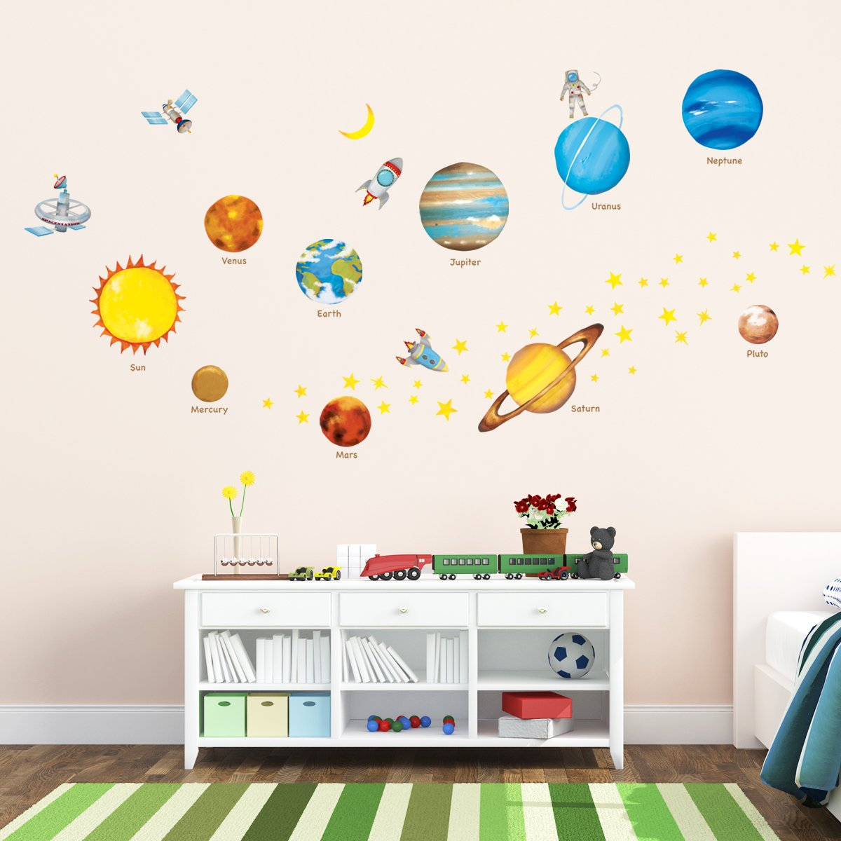 Amazon.com: Decowall DW 1307 Planets In The Space Kids Wall Decals Wall  Stickers Peel And Stick Removable Wall Stickers For Kids Nursery Bedroom  Living ...
