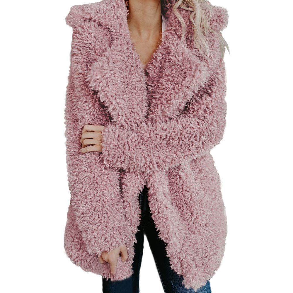 ThePass Womens Warm Coat Faux Fur Coats Artificial Wool Jacket Lapel Winter Outerwear