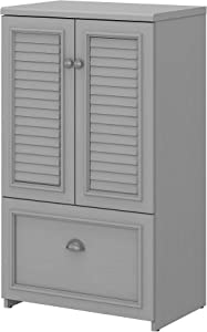 Bush Furniture Fairview 2 Door Storage Cabinet with File Drawer, Cape Cod Gray