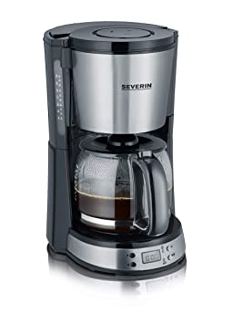 SEVERIN KA 4192 Cafetera Selectpara filtros de Café Molido, 10 tazas incluye jarra de cristal, acero inoxidable/negro