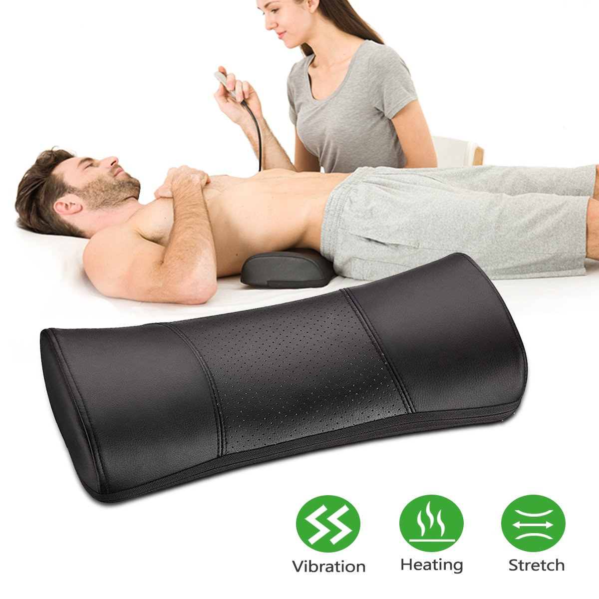 Lower Back Massager with Heating and Vibration Function, Lumbar Stretching Device, Muscle Tension and Lower Back Pain Relief, PU Leather, Black