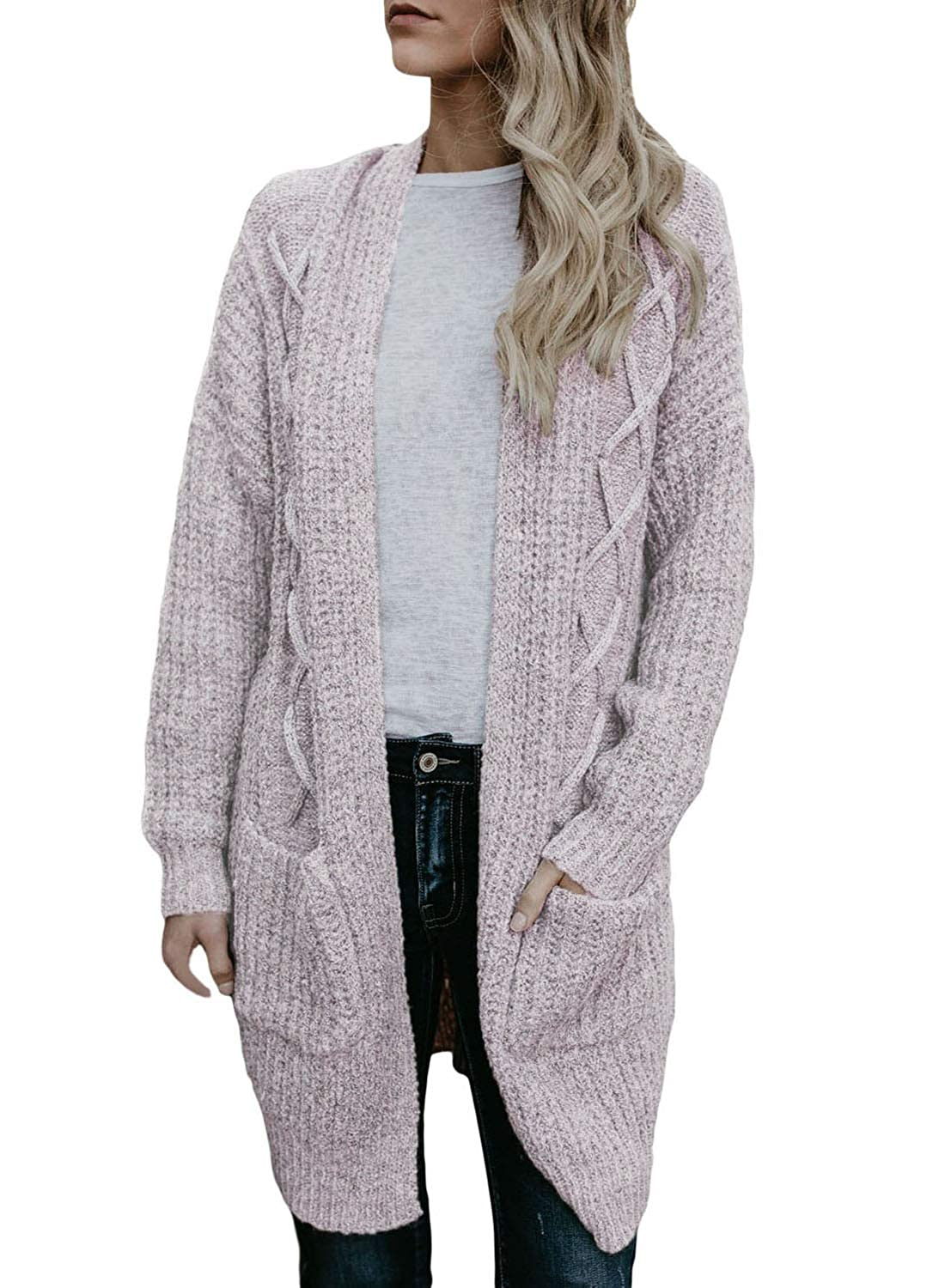 2161f9a99d Womens Open Front Long Sleeve Chunky Cable Knit Long Cardigans Sweater  Pockets Sweater Features  Open Neck
