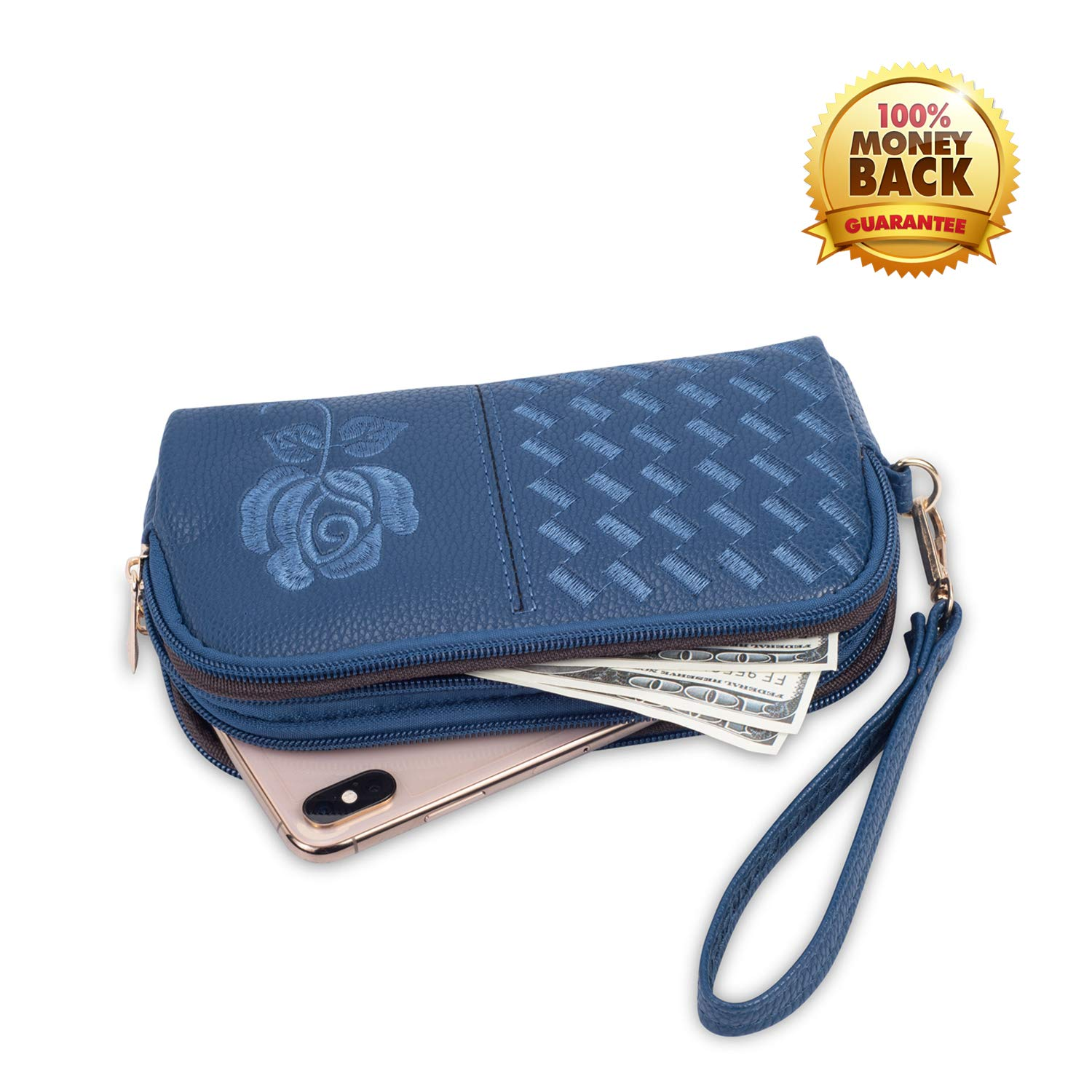 Wristlet Wallet with Strap for Women, Leather Wristlets Phone Purse Clutch for iphone (Wristlet blue) by JZE (Image #1)