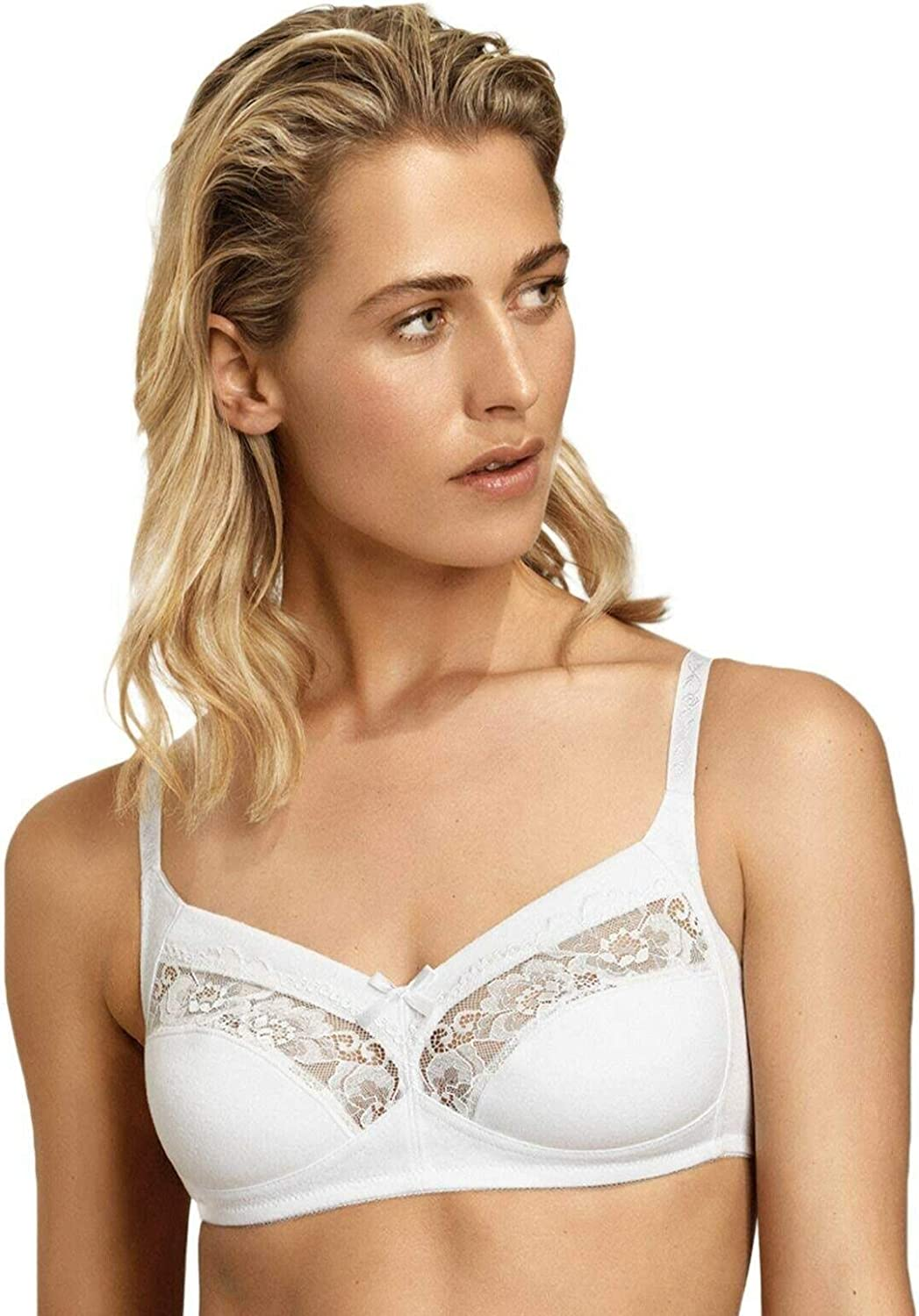 Naturana 2 Pack Non-wired Soft Cup Bra Full Coverage 86136 White Blue