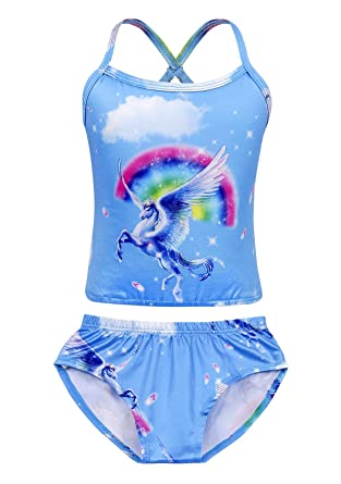 Cotrio Unicorn Swimwear Girls Two Pieces Swimsuit Shoulder Straps Bathing Suit Rainbow Swimming Suit Bikinis Size