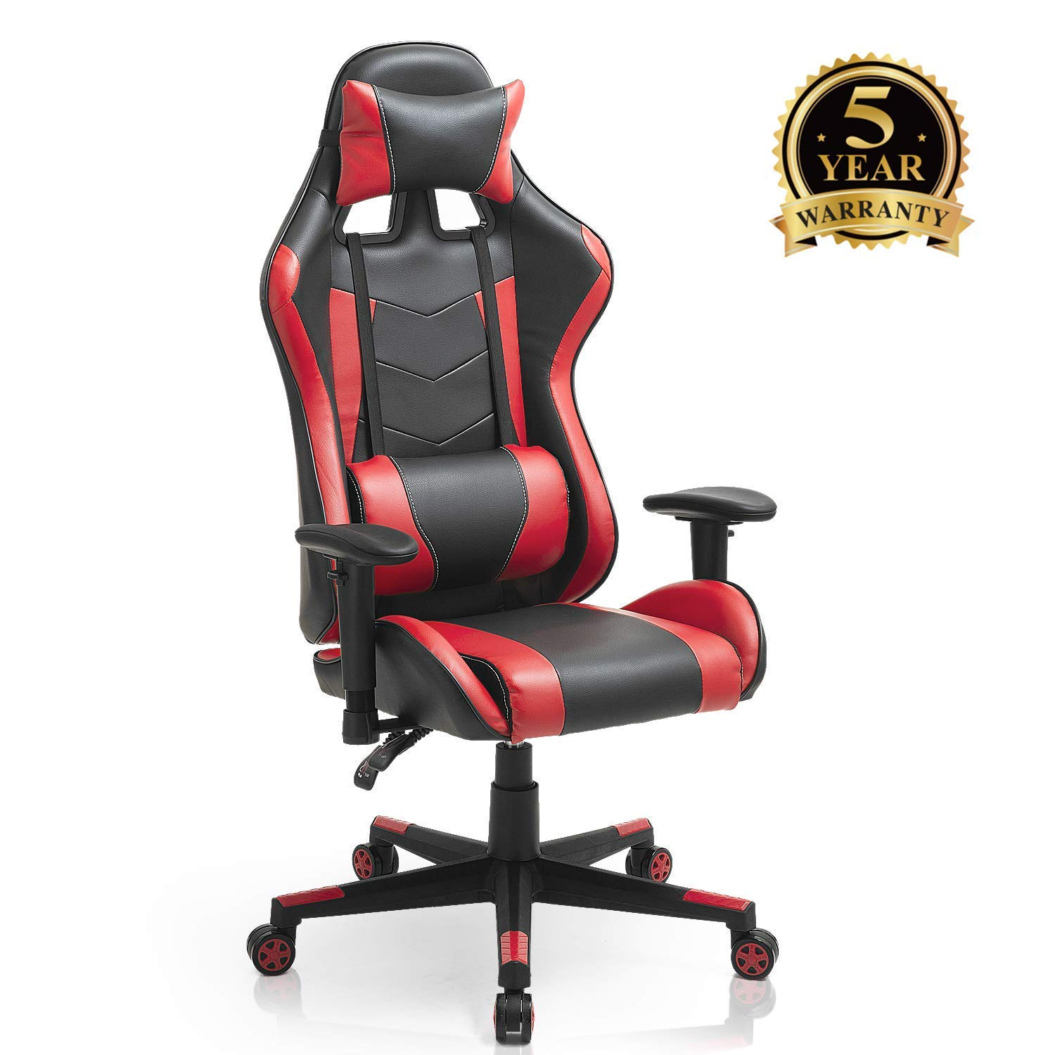 Computer Gaming Ergonomic Swivel Chair, High-Back Leather Adjustable Executive Office Chair with Flip-up Arms