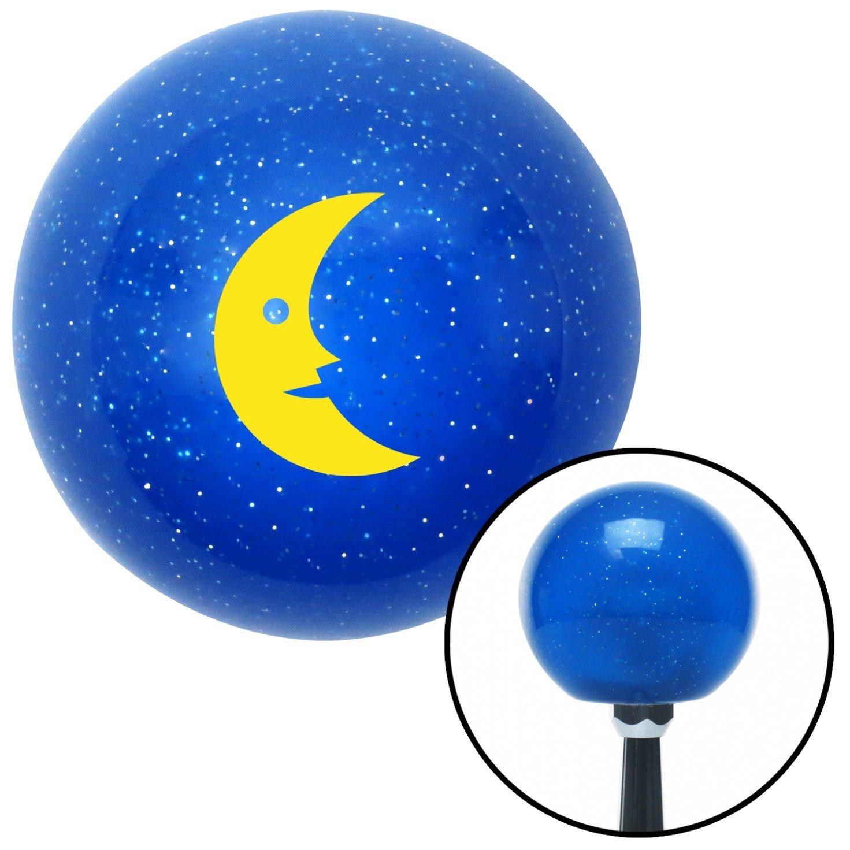 American Shifter 24849 Blue Metal Flake Shift Knob Yellow Crescent Moon