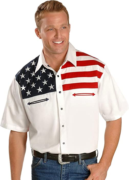 2e481b1c Scully Men's American Flag Colorblock Western Shirt Multi X-Large at ...