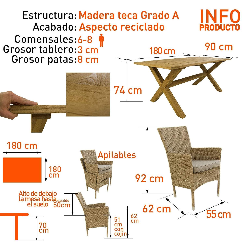 Conjunto de jardín | Mesa Teca Grado 180 cm | Madera ...