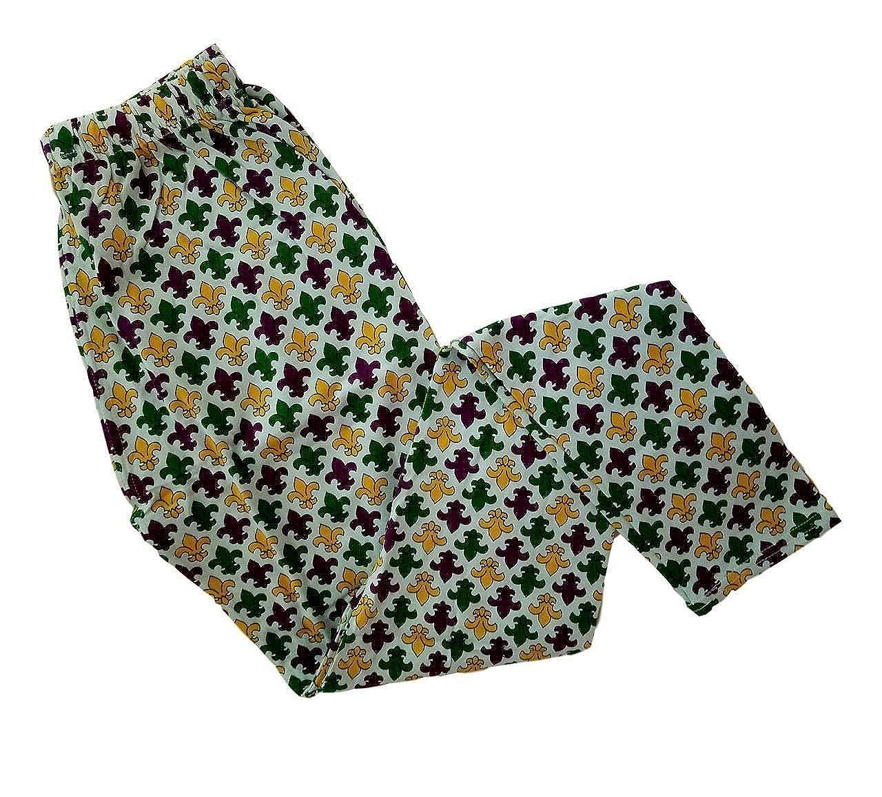 Ladies Fleur De lis Purple Green Yellow Mardi Gras L//XL Legging Soft Knit