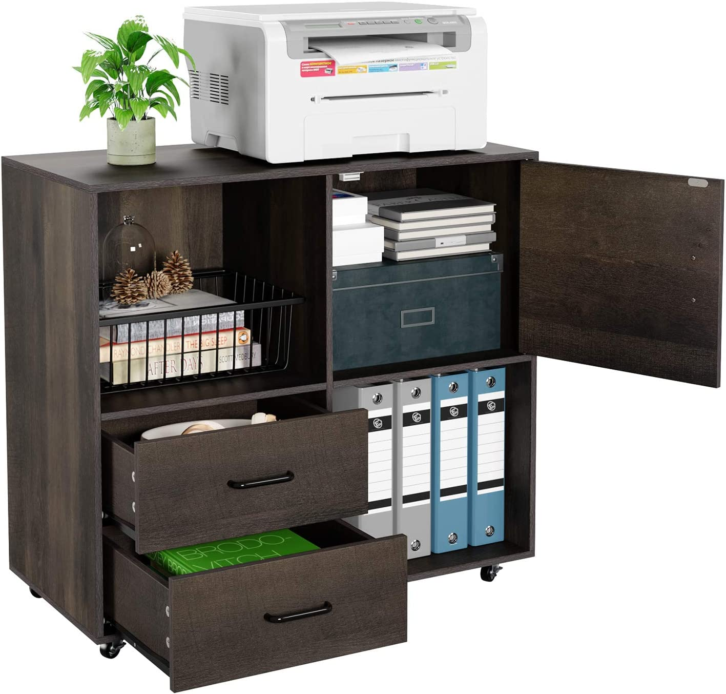 HOMECHO File Cabinet Mobile Lateral Filing Cabinet with Wheels, Large Modern Printer Stand with 2 Drawers and Open Shelves, Functional Storage Cabinet for Home Office, Dark Brown