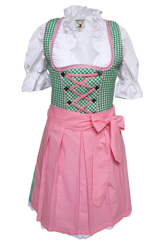 Alpenmärchen, 3tlg. Dirndl-Set - Trachtenkleid, Bluse, Schürze, Gr. 32-54, grün-rosa - ALM457