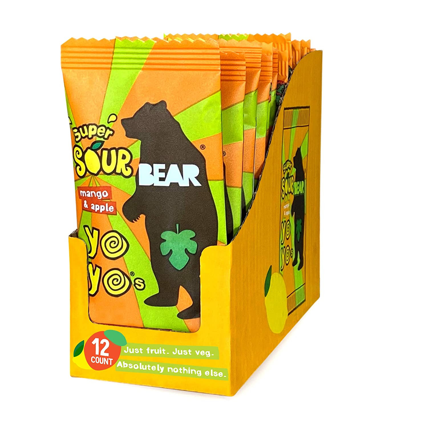 BEAR Sour - Real Fruit Yoyos - Mango-Apple - No added Sugar, All Natural, non GMO, Gluten Free, Vegan - Healthy on-the-go snack for kids & adults - 0.7 Ounce ( Pack Of 12 )