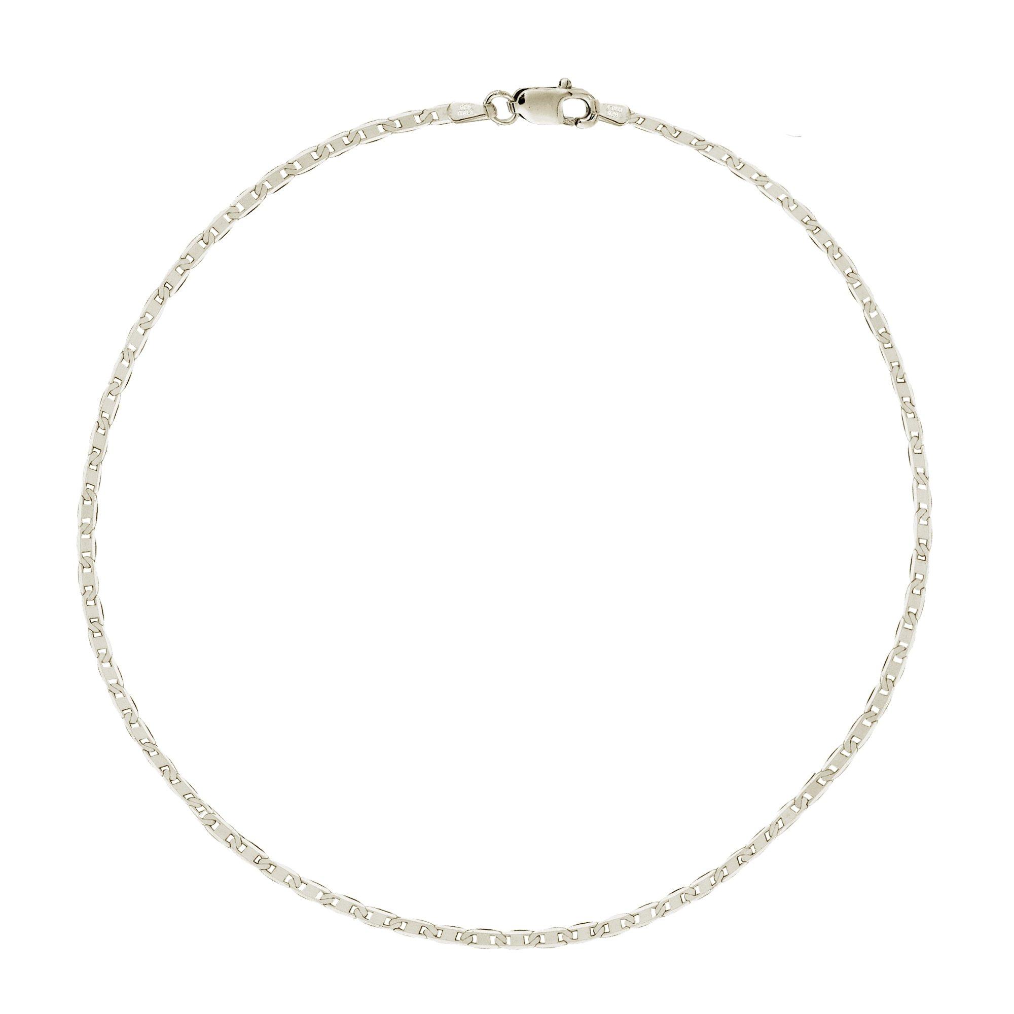 Sterling Silver Italian Mariner Link Chain Anklet or Bracelet (Dainty or Regular)